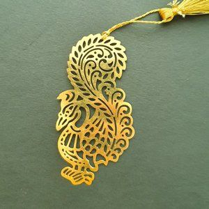 Other - Bookmark - Brass metal cutting indian Peacock 1